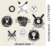 Baseball League Champs Labels and Icons