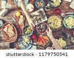 food concept dining table with... | Shutterstock . vector #1179750541