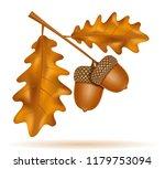 autumn oak acorns with leaves... | Shutterstock . vector #1179753094