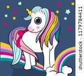 unicorn power with a rainbow... | Shutterstock .eps vector #1179784411