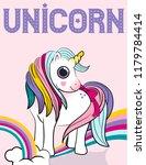 unicorn power with a rainbow... | Shutterstock .eps vector #1179784414