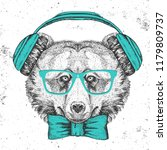 hipster animal bear. hand... | Shutterstock .eps vector #1179809737
