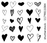 hearts hand drawn icons set... | Shutterstock .eps vector #1179811084