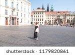 stylish women in a black dress... | Shutterstock . vector #1179820861