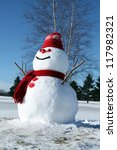 Funny Snowman Dressed In Red O...