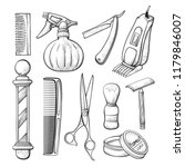 babershop sketch tools set.... | Shutterstock .eps vector #1179846007