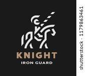 equestrian knight  linear logo  ... | Shutterstock .eps vector #1179863461