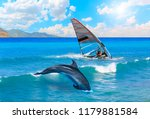 dolphin jumping on the water... | Shutterstock . vector #1179881584