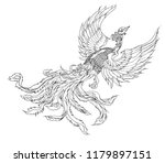 phoenix fire bird outline and... | Shutterstock .eps vector #1179897151