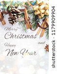 christmas composition. gift box ... | Shutterstock . vector #1179909904