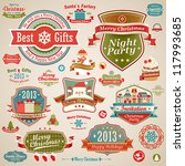 christmas vintage set   labels  ... | Shutterstock .eps vector #117993685