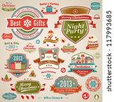 christmas vintage set   labels  ... | Shutterstock .eps vector #117993685
