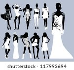 vector girls silhouettes.... | Shutterstock .eps vector #117993694