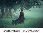 girl with a red hair walking... | Shutterstock . vector #1179967054