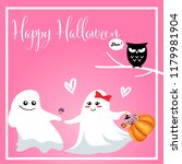 halloween background with cute... | Shutterstock .eps vector #1179981904