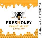 vector honey logo with bee ... | Shutterstock .eps vector #1179989254
