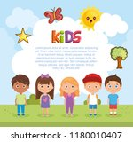 little kids group playing on... | Shutterstock .eps vector #1180010407