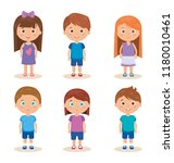 group of little kids characters | Shutterstock .eps vector #1180010461