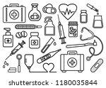 medicine set. black outline... | Shutterstock .eps vector #1180035844