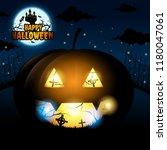 happy halloween and bats fly... | Shutterstock .eps vector #1180047061