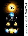 halloween witch fly on orange... | Shutterstock .eps vector #1180047064