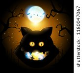 happy halloween  cat head in... | Shutterstock .eps vector #1180047067