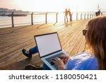 hipster girl distance working... | Shutterstock . vector #1180050421