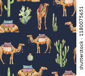 watercolor pattern with a camel ... | Shutterstock . vector #1180075651