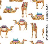 watercolor pattern with a camel ... | Shutterstock . vector #1180075654
