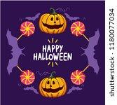 vector halloween pumpking with... | Shutterstock .eps vector #1180077034