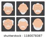 flat set of face old men on... | Shutterstock .eps vector #1180078387