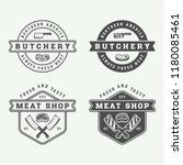 set of vintage butchery meat ... | Shutterstock . vector #1180085461