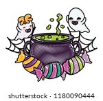 grated happy ghosts with pot... | Shutterstock .eps vector #1180090444