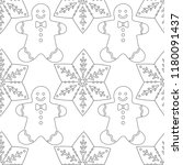 gingerbread. black and white... | Shutterstock .eps vector #1180091437