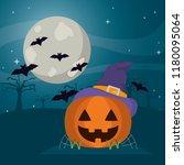 happy pumpkin wearing witch hat ... | Shutterstock .eps vector #1180095064