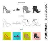 isolated object of footwear and ... | Shutterstock .eps vector #1180102027