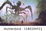 the man facing the giant spider ... | Shutterstock . vector #1180104511
