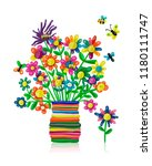 floral bouquet in vase ... | Shutterstock .eps vector #1180111747