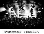 black and white audience crowd... | Shutterstock . vector #118013677