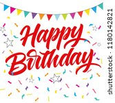 happy birthday lettering... | Shutterstock .eps vector #1180142821