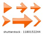 orange arrows. shiny 3d glass... | Shutterstock .eps vector #1180152244
