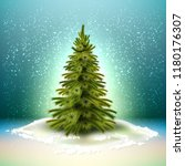 vector spruce christmas tree... | Shutterstock .eps vector #1180176307