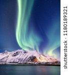 aurora borealis on the lofoten... | Shutterstock . vector #1180189321
