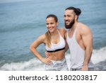 happy sportive friends  young... | Shutterstock . vector #1180203817