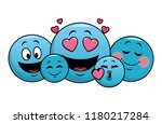 set of chat emoticons | Shutterstock .eps vector #1180217284