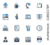 office icons   blue series | Shutterstock .eps vector #118021789