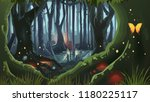 fantasy forest illustration... | Shutterstock .eps vector #1180225117
