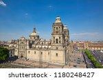 mexico city central zocalo... | Shutterstock . vector #1180248427