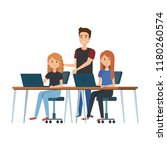 young women at desk with laptop ...   Shutterstock .eps vector #1180260574