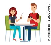 young couple in the cafeteria | Shutterstock .eps vector #1180260967